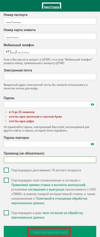 Анкета регистрации через мобильную версию